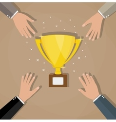 Competition between businessmans for golden trophy vector image