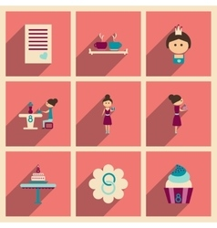 Concept of flat icons with long shadow women Day vector