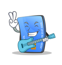 Credit card character cartoon with guitar vector