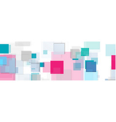 cyan and pink squares tech abstract banner design vector image
