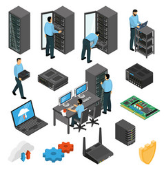 Datacenter equipment isometric set vector