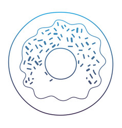 Degraded line delicious sweet donut fresh snack vector