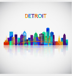 detroit skyline silhouette in colorful geometric vector image