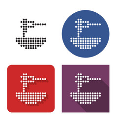 dotted icon spaghetti in four variants vector image