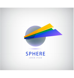 dynamic sphere logo abstract 3d icon with vector image