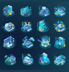 E-commerce glow isometric set vector