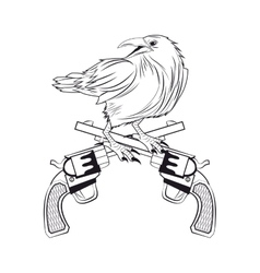 eagle gun tattoo animal design vector image