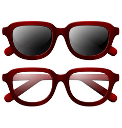 eyeglasses and sunglasses with red frames vector image