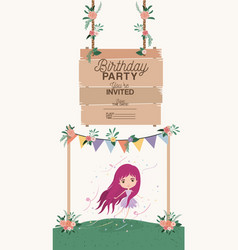 Fairy with wooden label invitation card vector
