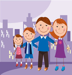 Family in the city vector