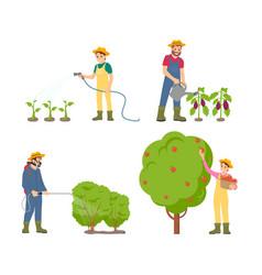 Farmers watering plants set vector