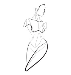 Female one continuous line abstract icon gr vector