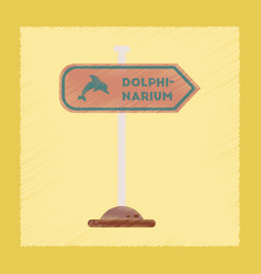 Flat shading style icon dolphinarium sign vector
