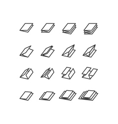 Folded icons set vector image