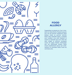 food allergy banner template in line style vector image