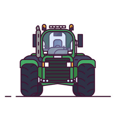 Front view of farm tractor vector