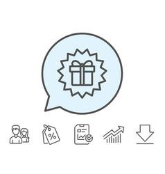 Gift box line icon present sign vector