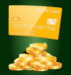 Golden bank credit card stack coins vector