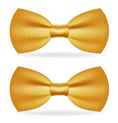 Golden bow tie gentleman isolated gold 3d icon vector