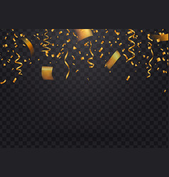 Golden flying confetti and particles on dark vector
