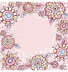 hand draw flowers on pink background vector image