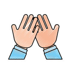 Hands human protected icon vector