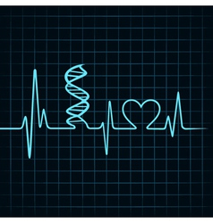 Heartbeat make dna stand and heart symbol vector