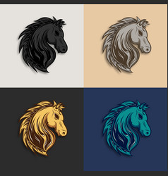 horse head logo design with different color vector image