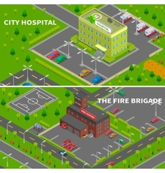 Hospital And Fire Station Isometric Banners vector
