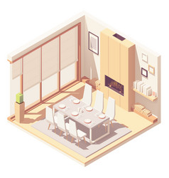Isometric dining room interior vector