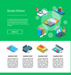 isometric online education icons landing vector image