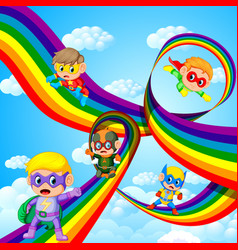 Kids in hero outfit flying over the rainbow vector