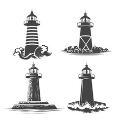 Lighthouse emblem set vector