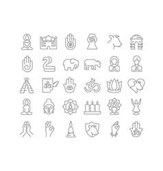 Line icons mahavir jayanti vector