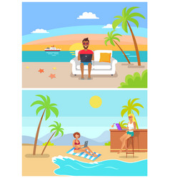 Male and female freelancers sit and work at beach vector