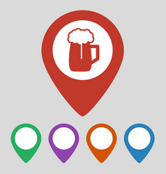Map pointer with beer icon gray background vector
