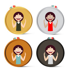 Medals set with happy man awards collection vector