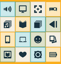 Media icons set with group e-reader cellphone vector