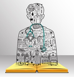 Medicine on book vector image