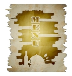 menu template torn page with the stencil vector image