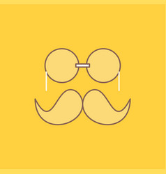 Moustache hipster movember glasses men flat line vector