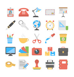 office and stationery flat icons collectio vector image