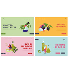 olive products website landing page set people vector image
