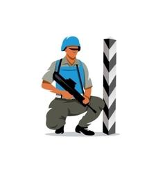Peacemaker in blue helmet Cartoon vector