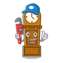 Plumber grandfather clock mascot cartoon vector