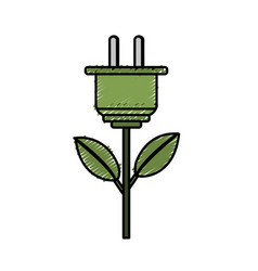 Power cable plant with leaves vector