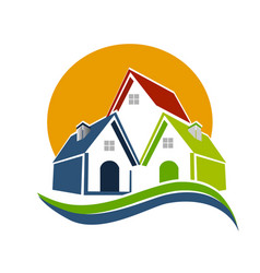 real estate houses and sun logo vector image