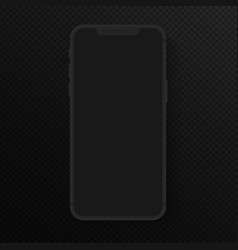 realistic totally black smartphone high vector image