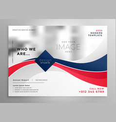 Red and blue wavy business brochure design vector