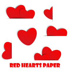 red hearts paper on white background vector image